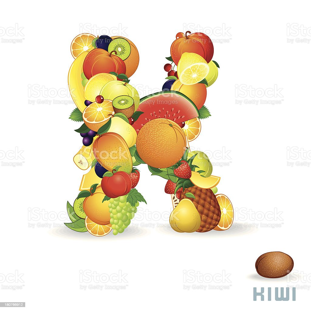 Vector Alphabet From Fruit. Letter K royalty-free stock vector art