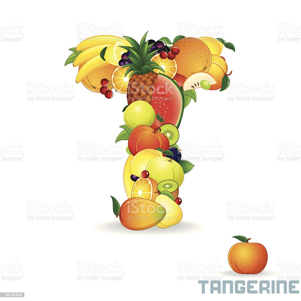 Vector Alphabet From Fruit. Letter T royalty-free stock vector art