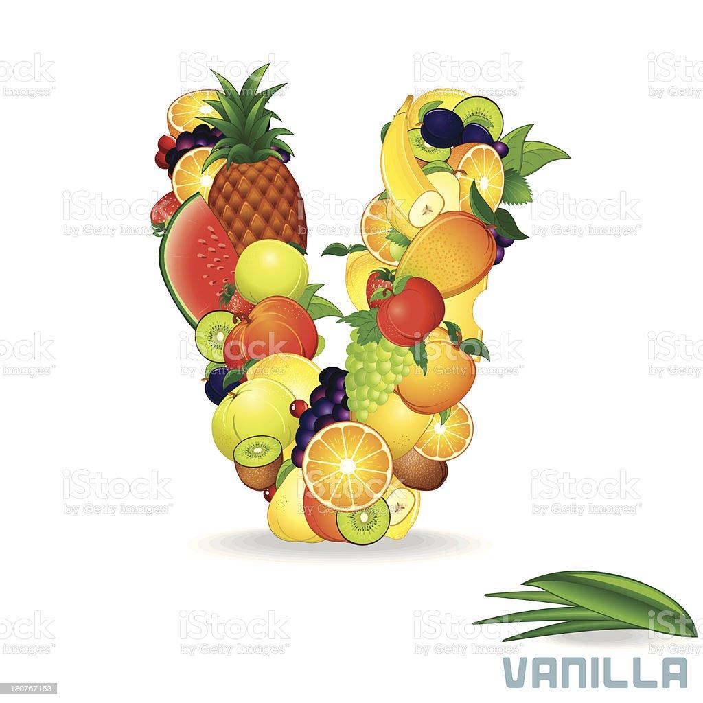 Vector Alphabet From Fruit. Letter V royalty-free stock vector art