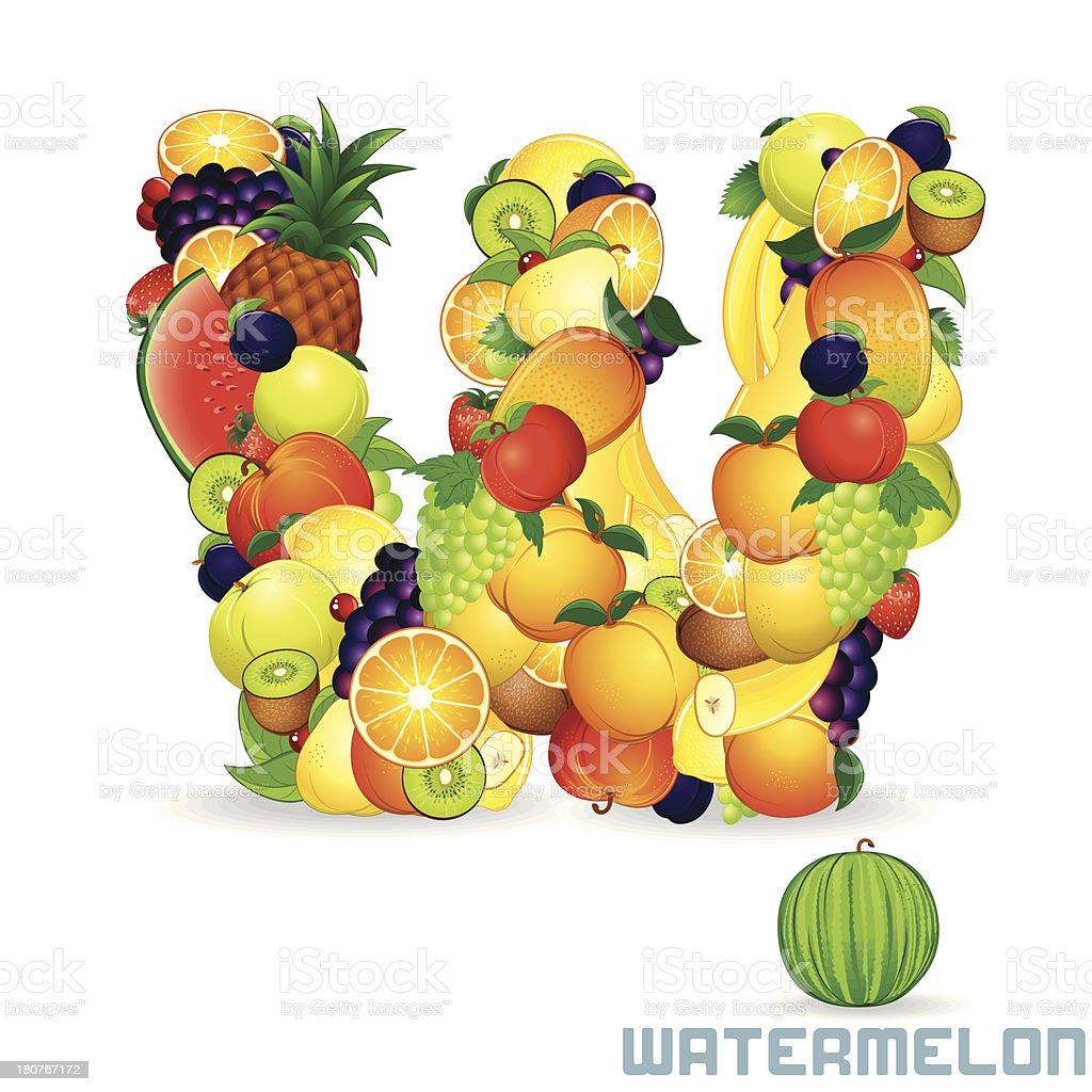Vector Alphabet From Fruit. Letter W royalty-free stock vector art