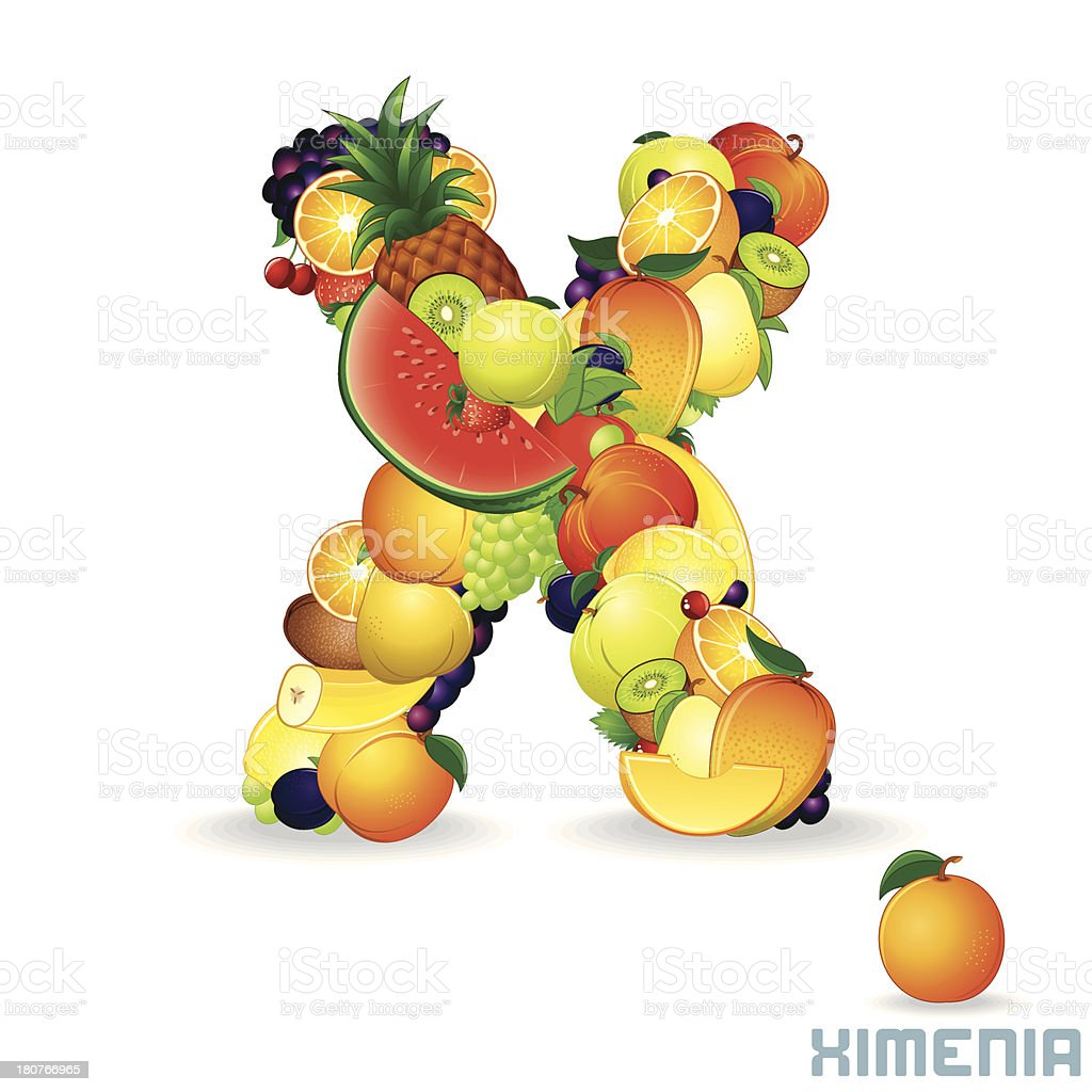 Vector Alphabet From Fruit. Letter X royalty-free stock vector art