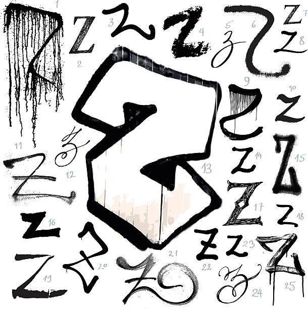 Background Of Graffiti Letters Alphabet A Z Design Clip Art Vector