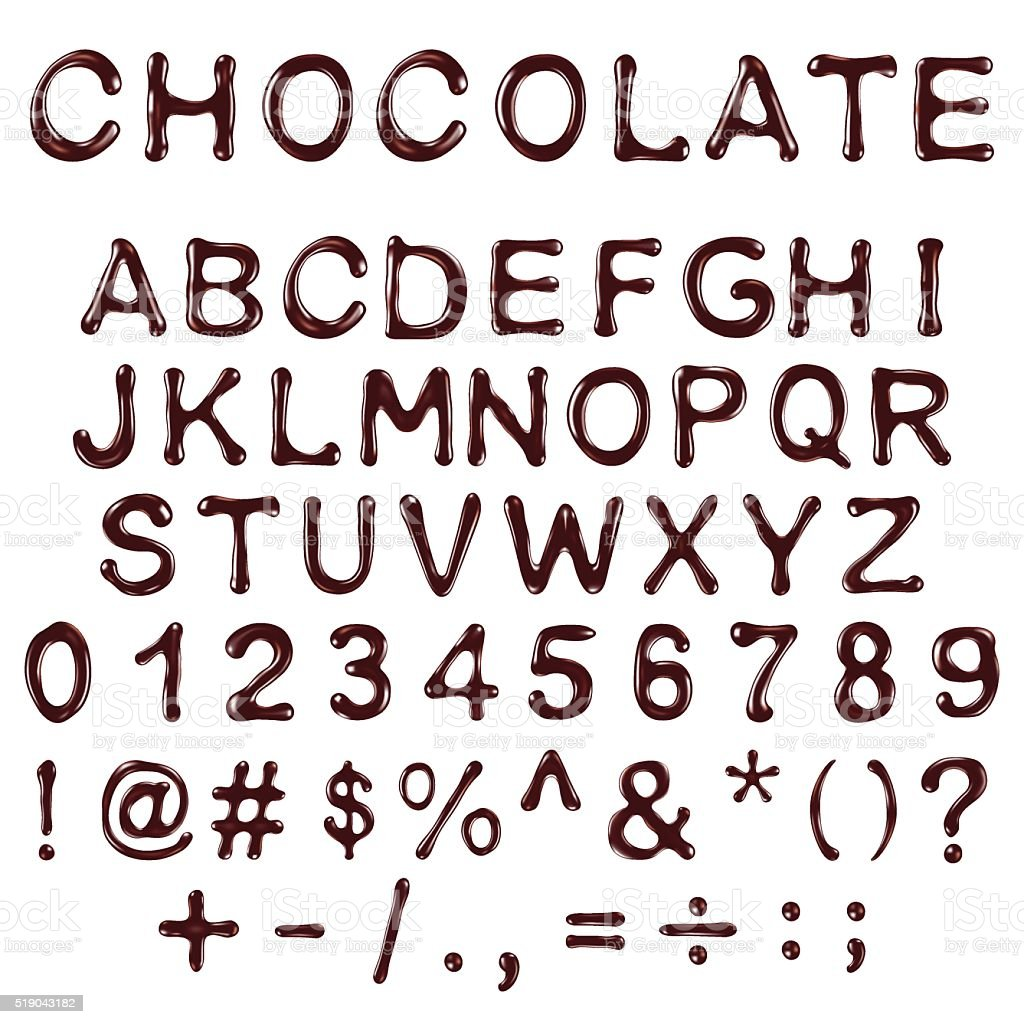 vector alphabet letters, numbers and symbols made of chocolate syrup vector art illustration