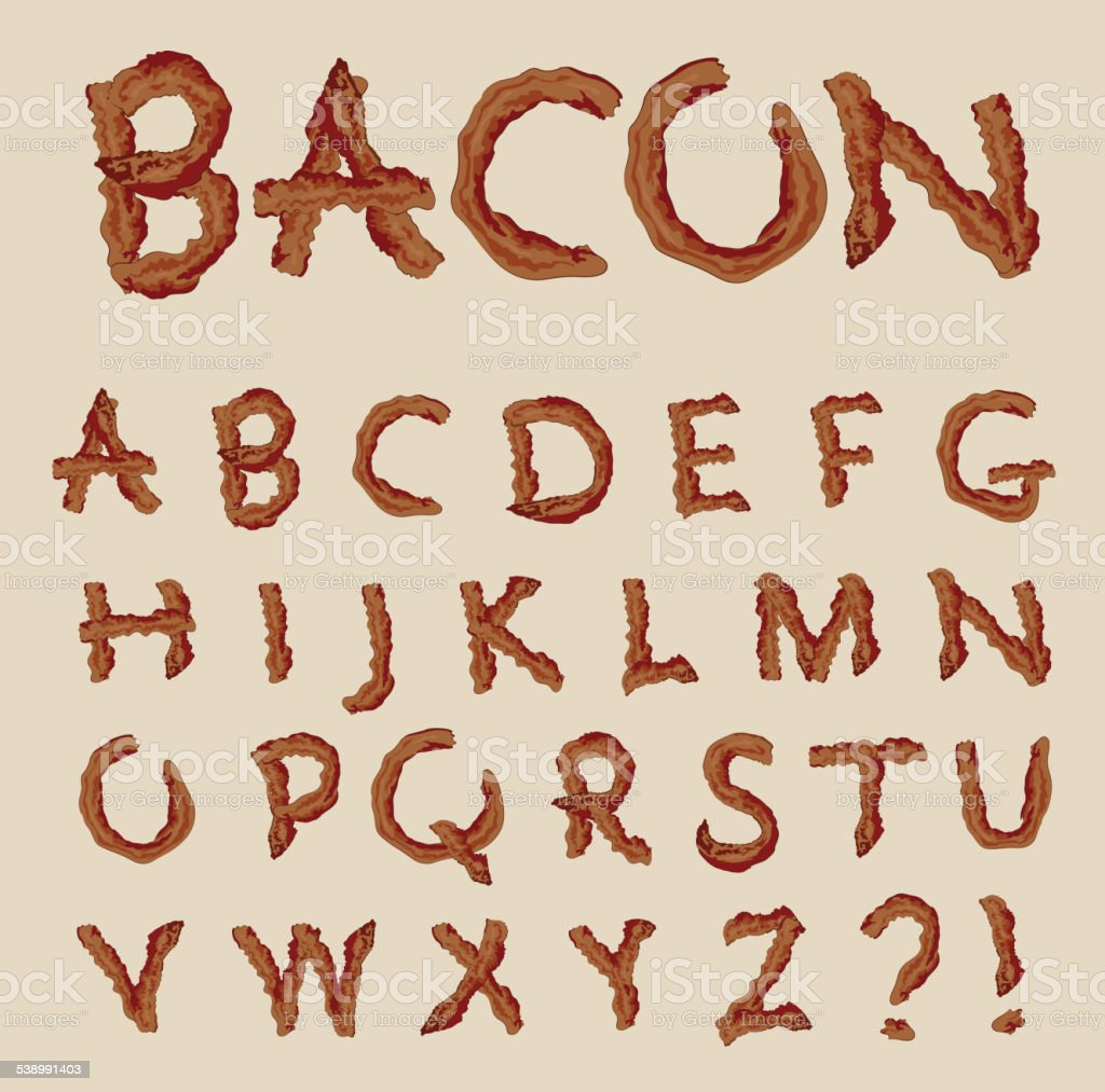 Vector alphabet of bacon letters vector art illustration