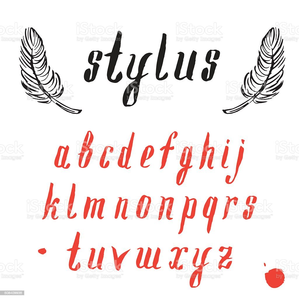 Vector alphabet with feathers. Hand drawn font. vector art illustration