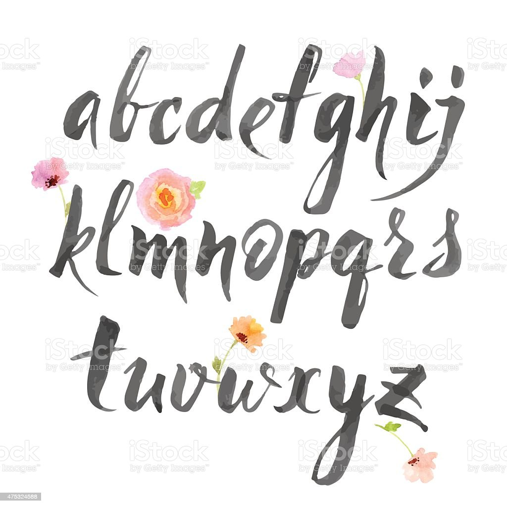 Vector alphabet written with brush pen vector art illustration