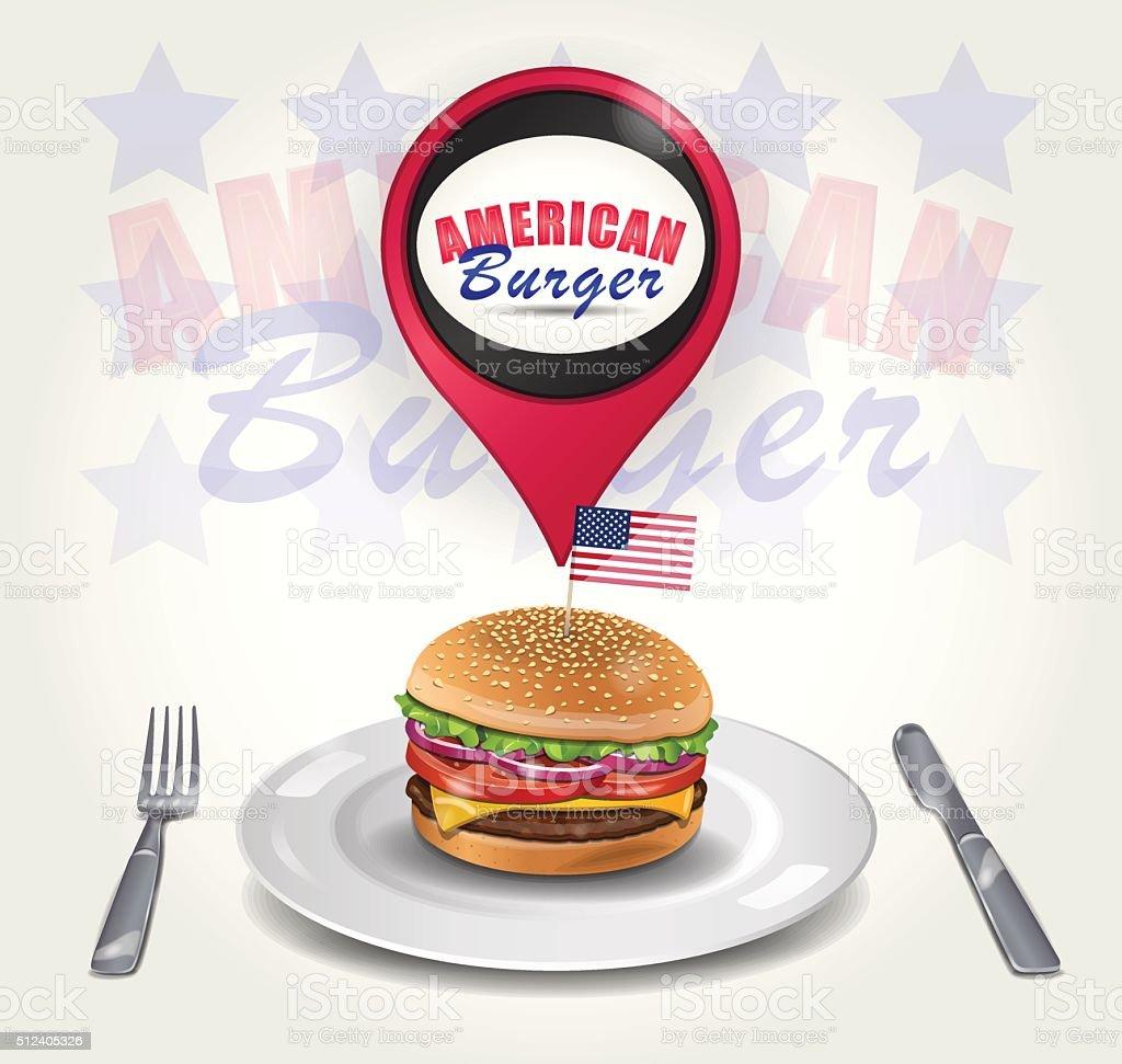 Vector American Burger on Plate vector art illustration
