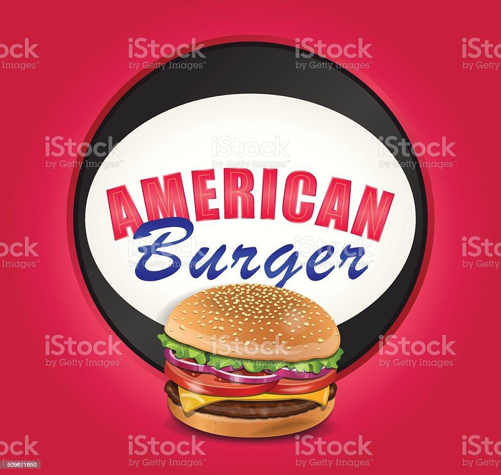 Vector American Burger vector art illustration