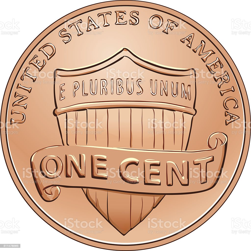 Vector American coin one cent, penny vector art illustration