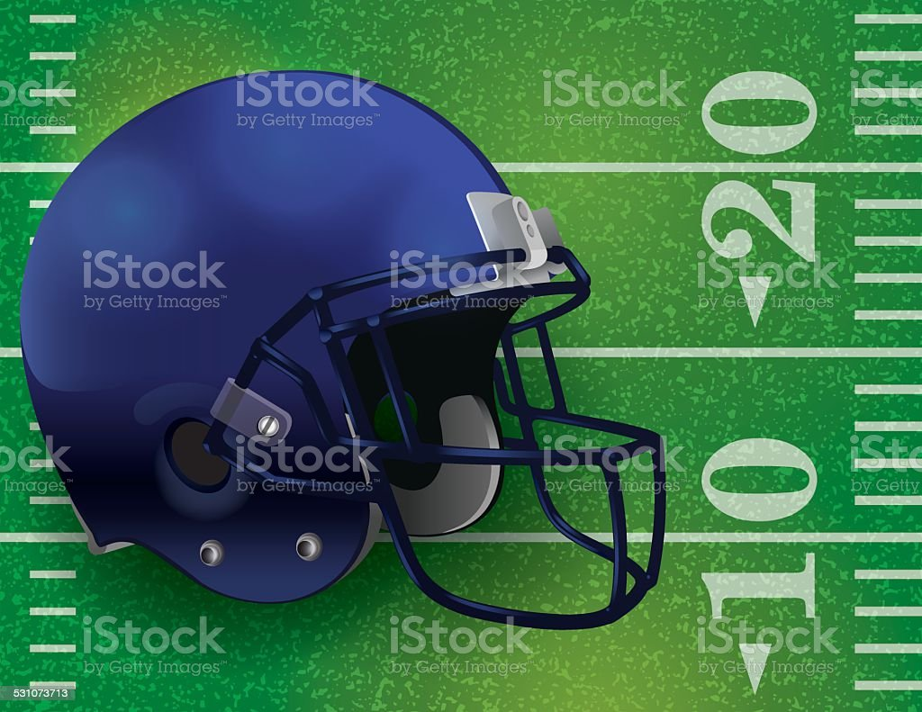 Vector American Football Helmet on Field Illustration vector art illustration