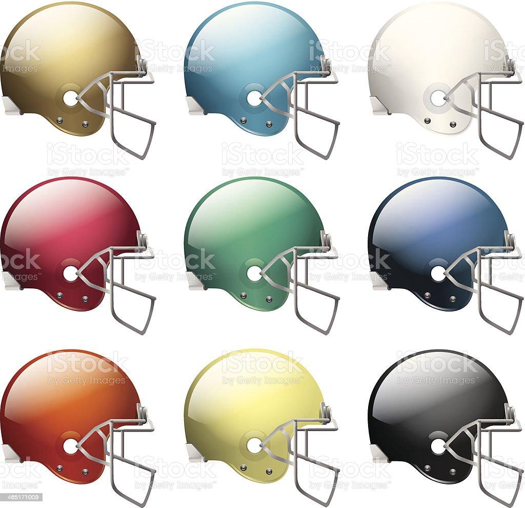 Vector American Football Helmets vector art illustration