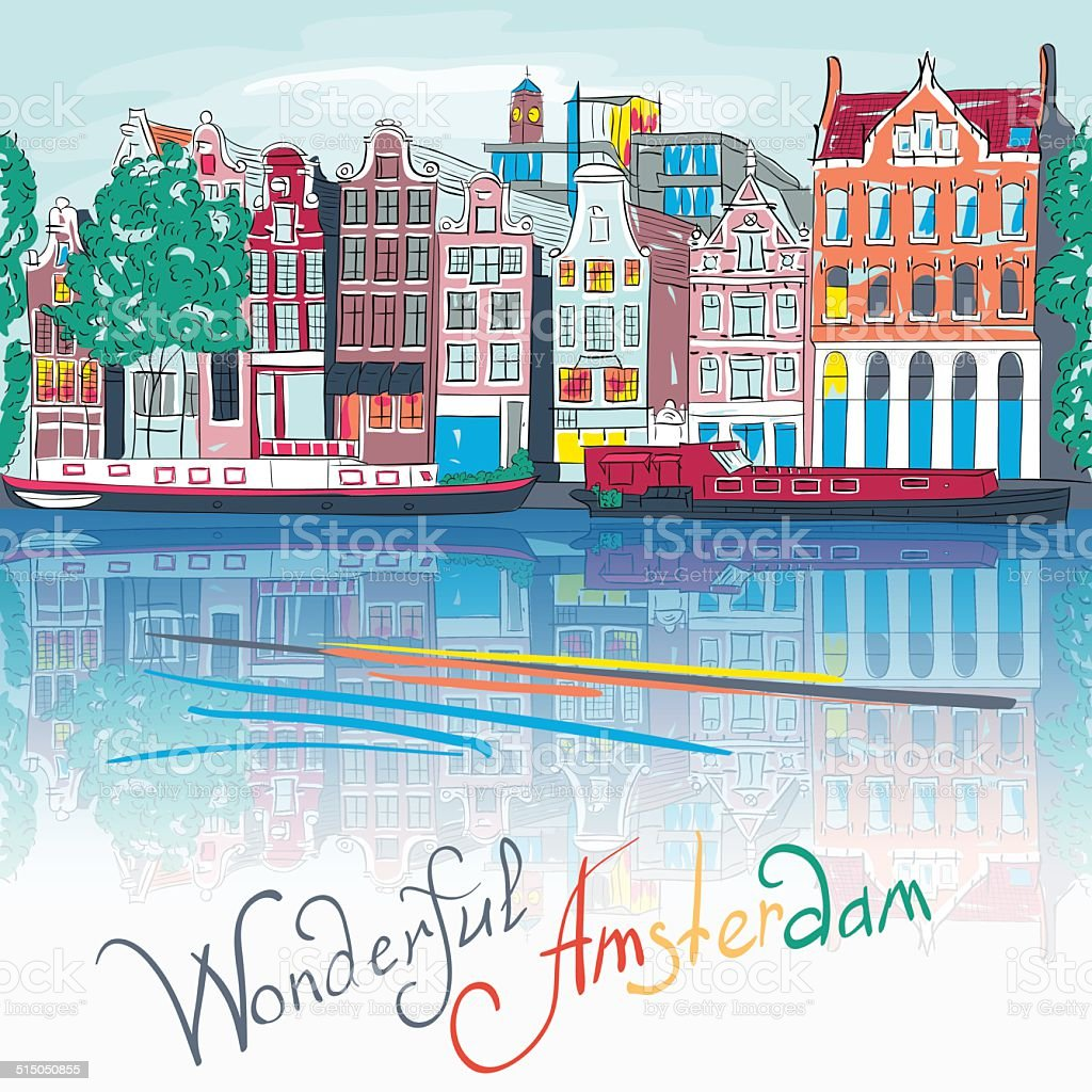 Vector Amsterdam canal and typical houses vector art illustration
