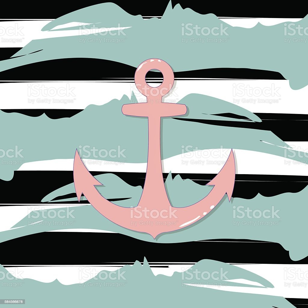 Vector anchor icon isolated on striped background. Print water sign vector art illustration