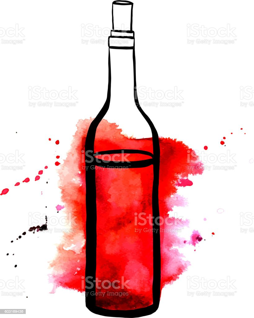 Vector and watercolor drawing of red wine bottle vector art illustration