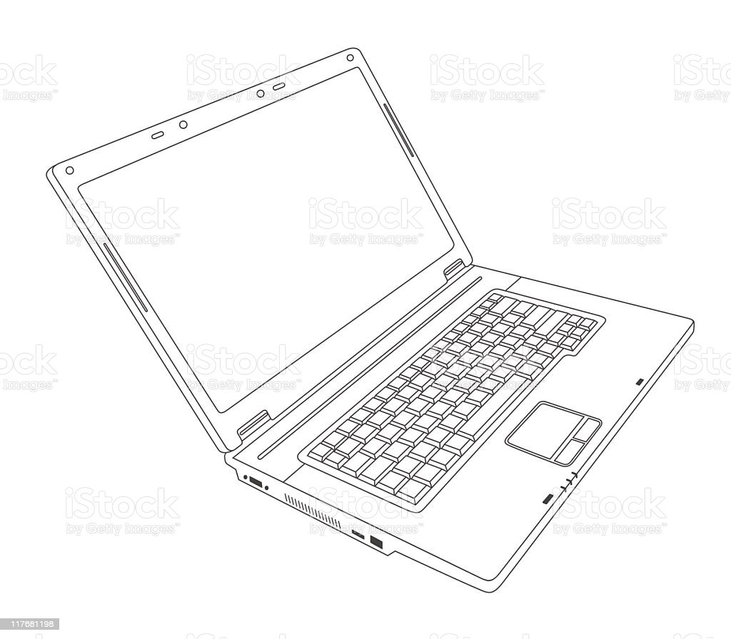Vector animation of a blank laptop on a white background royalty-free stock vector art