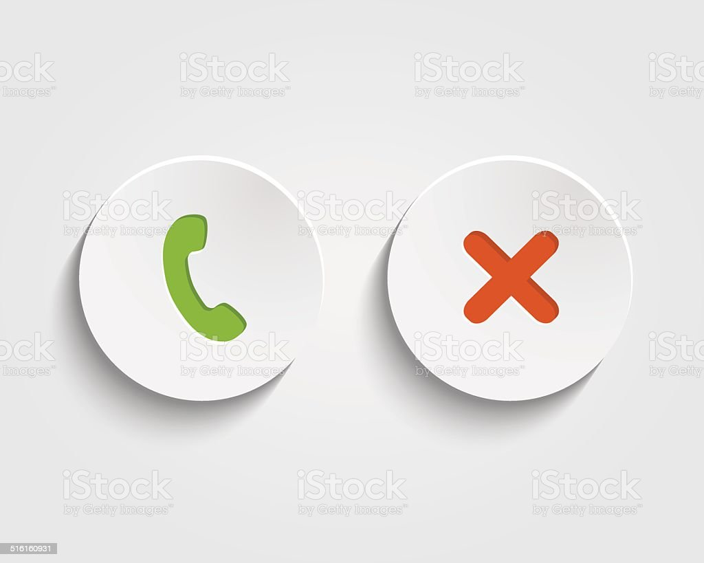 Vector answer the call, cancel  signs on buttons vector art illustration