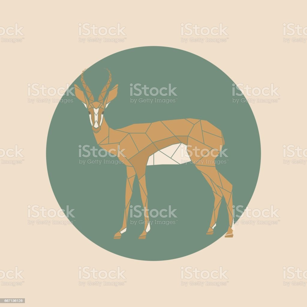 Vector antelope  in a polygon style. vector art illustration