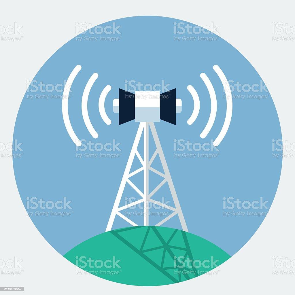 Vector antenna tower icon vector art illustration