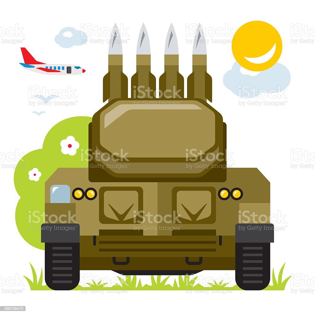 Vector Anti-aircraft missile system. Flat style colorful Cartoon illustration. vector art illustration