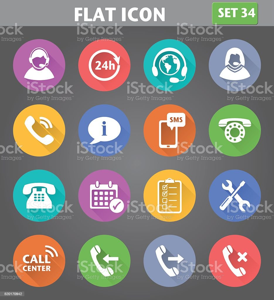 Vector application Call Center Service Icons set in flat style vector art illustration