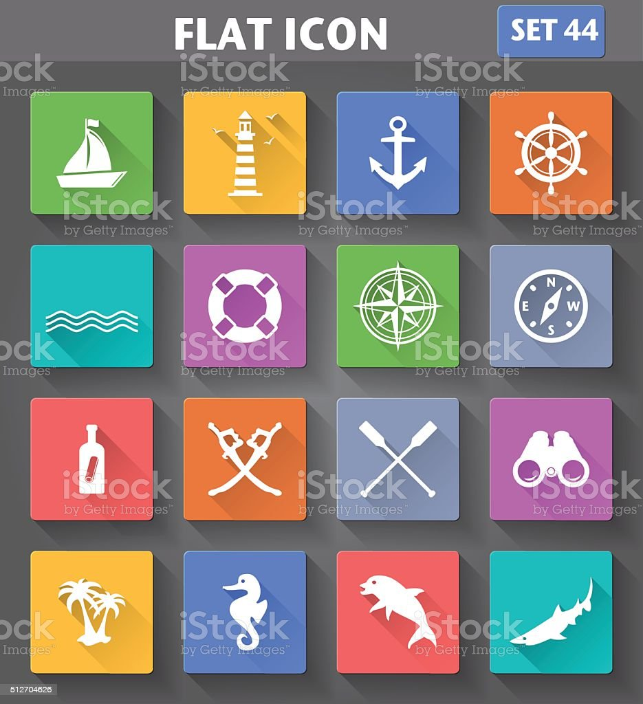 Vector application Nautical Icons set vector art illustration