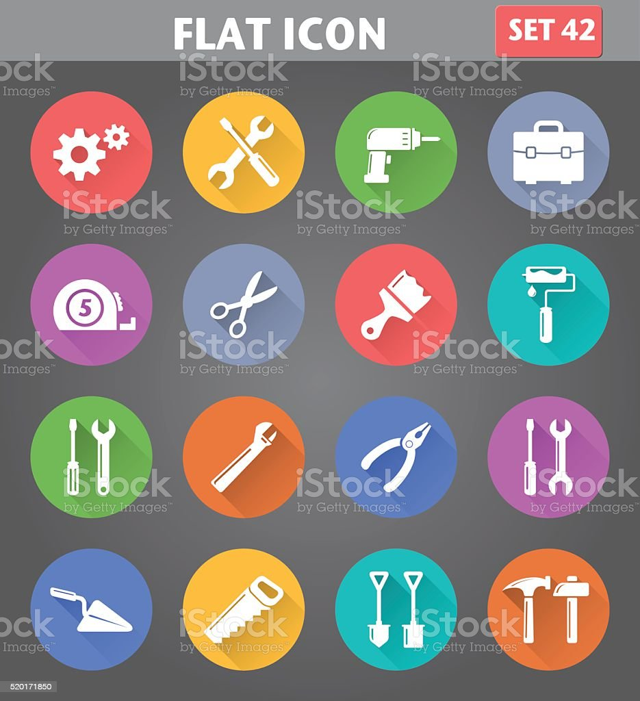 Vector application Tools Icons set in flat style vector art illustration