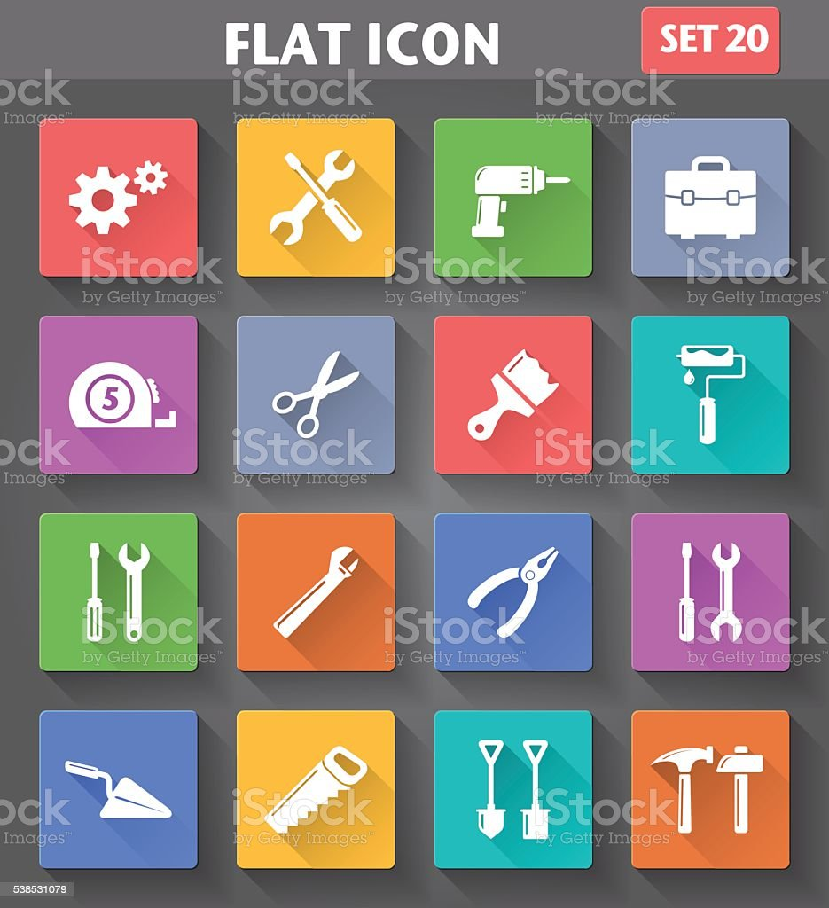 Vector application Tools Icons set vector art illustration