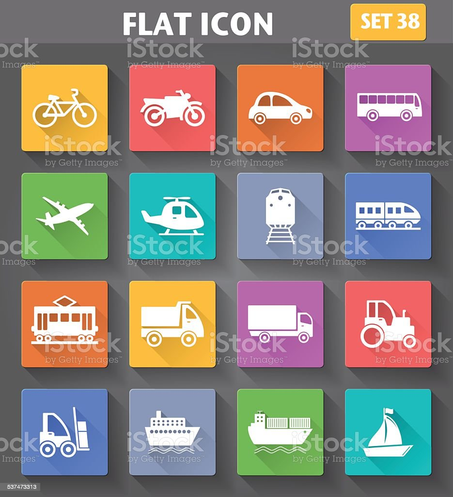 Vector application Transport Icons set vector art illustration