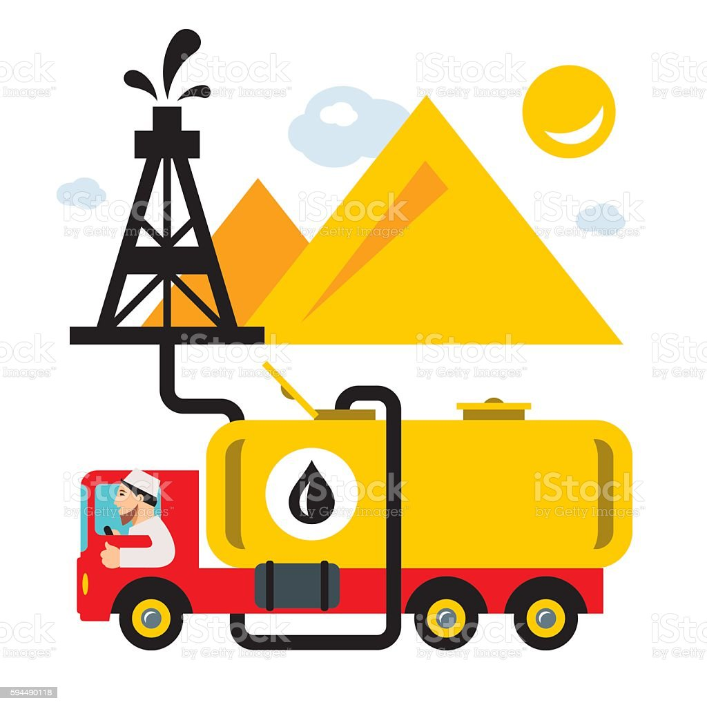 Vector Arab Oil Industry. Delivery Vehicles. Flat style colorful Cartoon vector art illustration