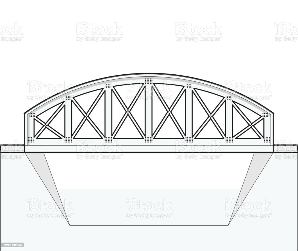 Vector arched train bridge, oulined side view, isolated, white background. vector art illustration