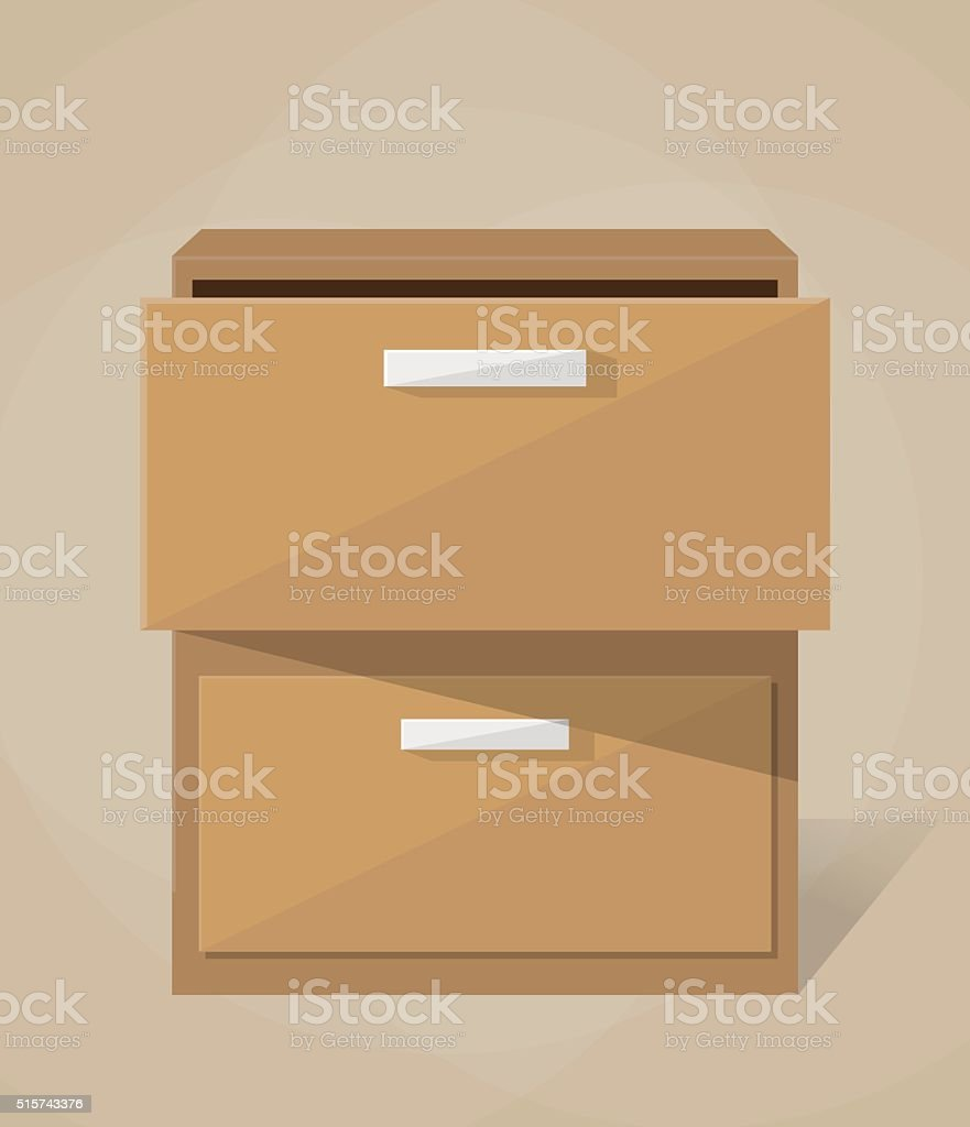 Vector archive filling cabinet vector art illustration
