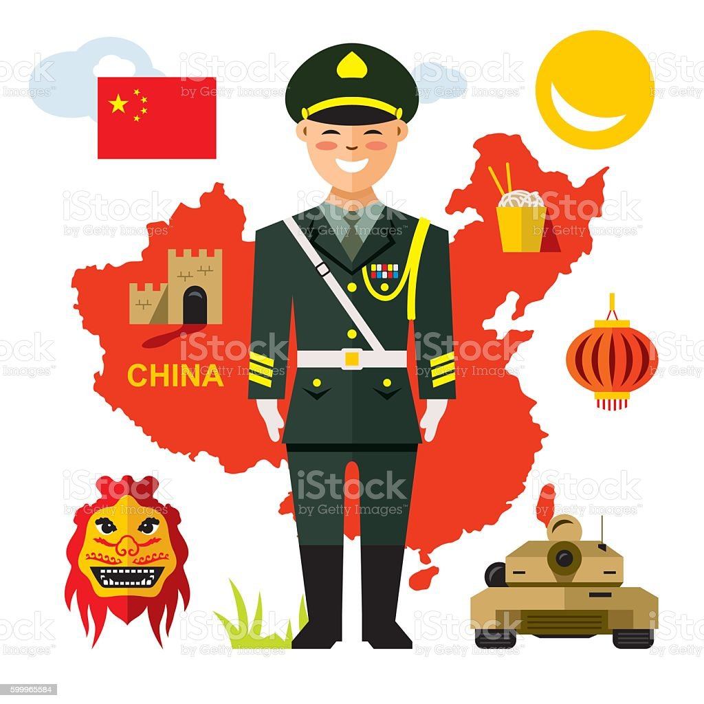 Vector Army of China. Flat style colorful Cartoon illustration. vector art illustration