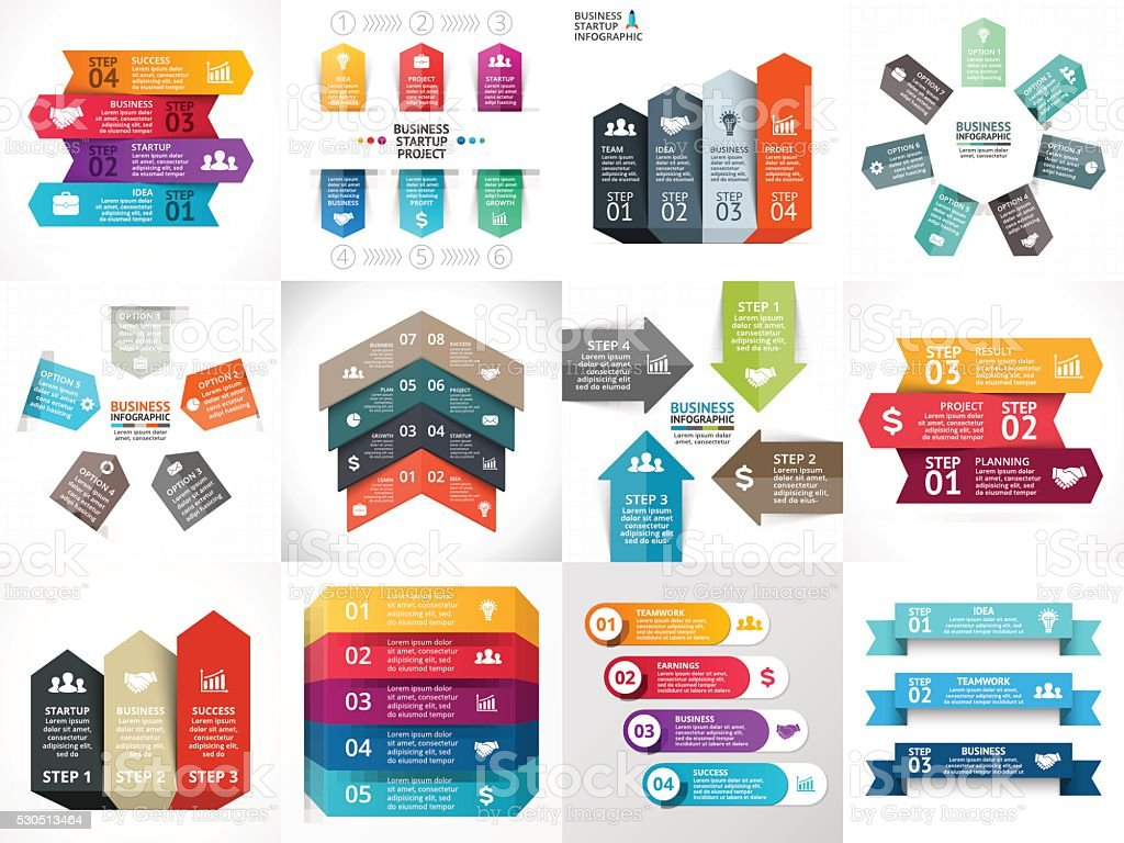 Vektor-Pfeile-Infografik, Diagramm, Diagramm, Präsentation, Flipchart. Geschäft startup-Konzept – Vektorgrafik