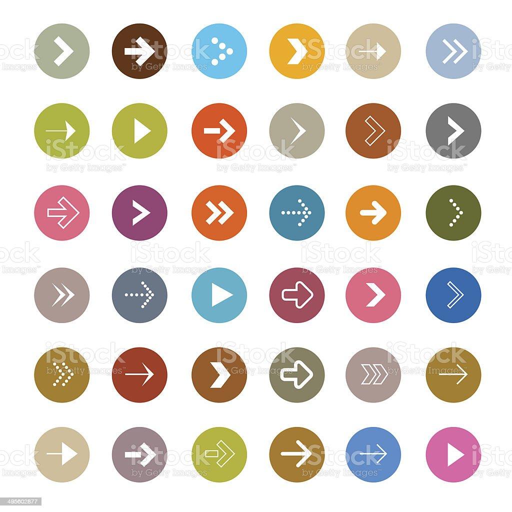 Vector Arrows Set in Circles vector art illustration