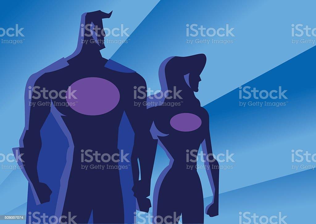 Vector Art Deco Superhero Couple Illustration vector art illustration
