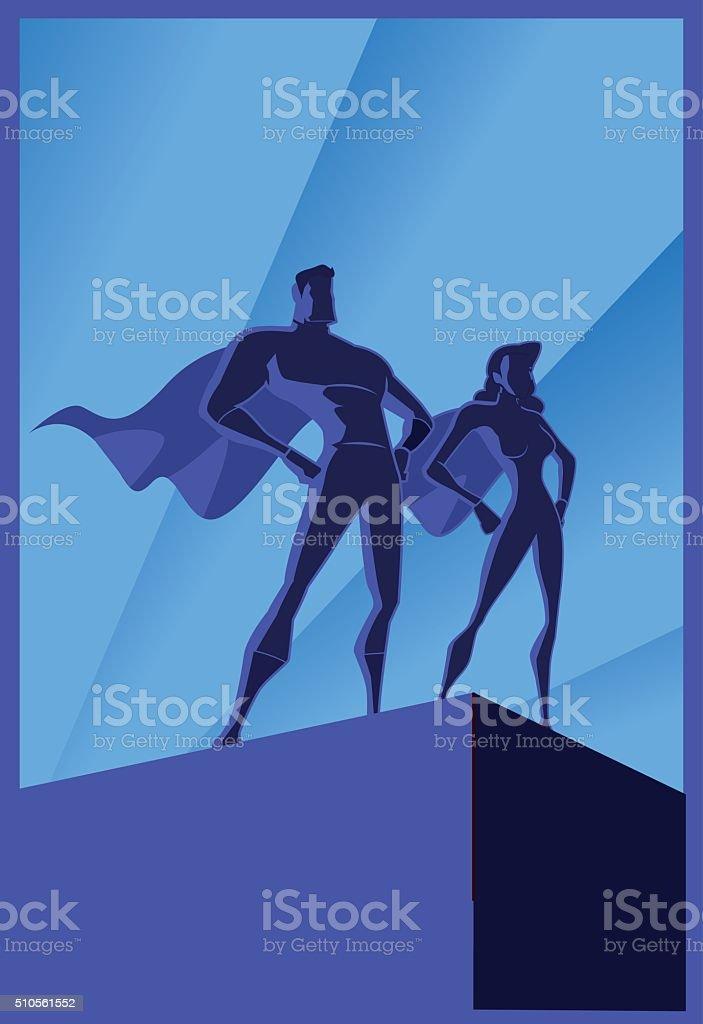 Vector Art Deco Superheroes Couple Poster vector art illustration