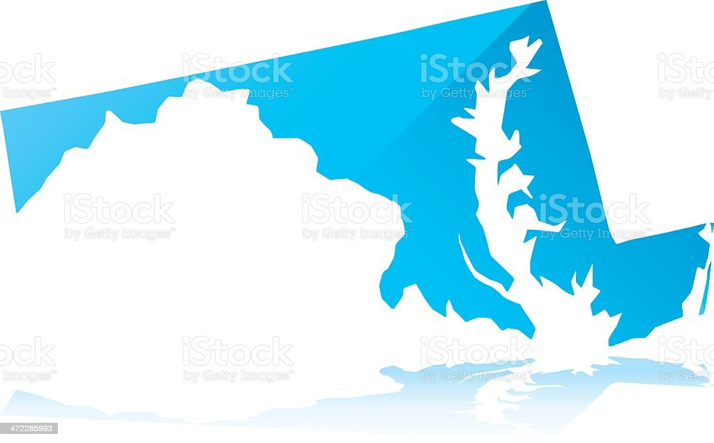 Vector art drawing of the state of Maryland colored blue royalty-free stock vector art