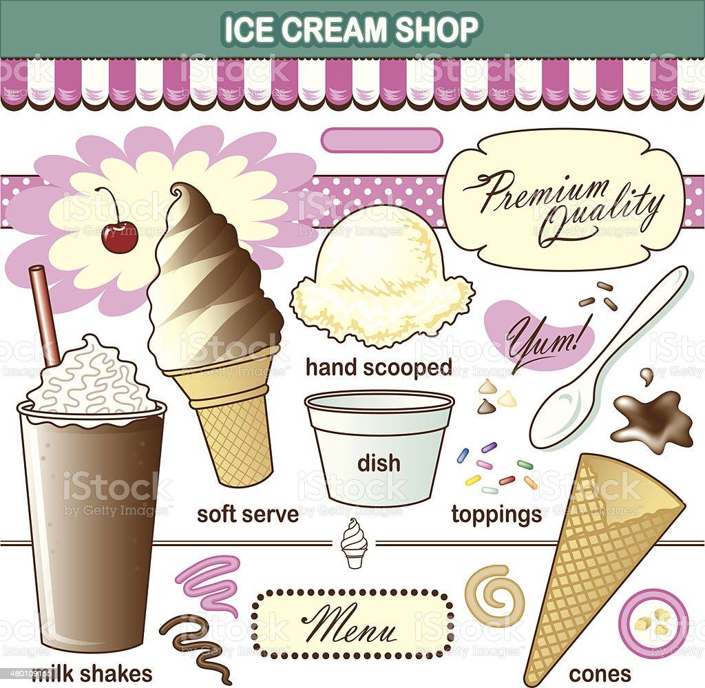 Vector Art Ice Cream Shop Set Toppings Shake vector art illustration
