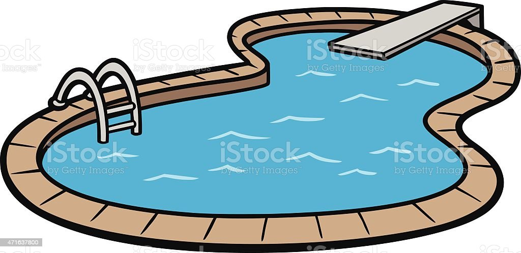 Vector art of an in ground swimming pool vector art illustration