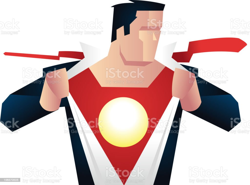 Vector art of superhero removing his disguise royalty-free stock vector art