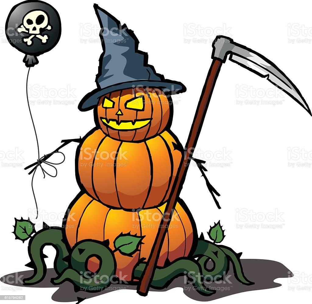 Vector art Pumpkin stylized snowman for Halloween holidays vector art illustration