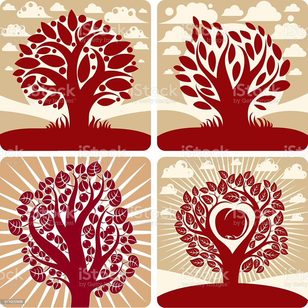Vector art red trees with ripe apples, beautiful autumn vector art illustration