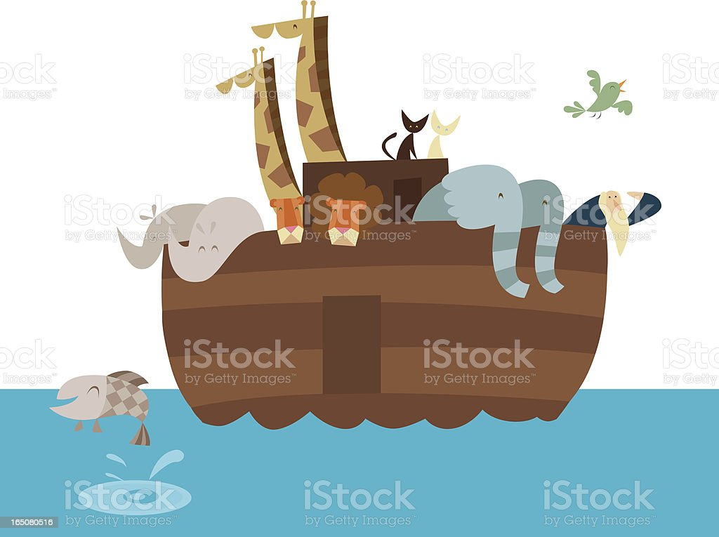 Vector artistic cartoon illustration of Noah's Ark royalty-free stock vector art