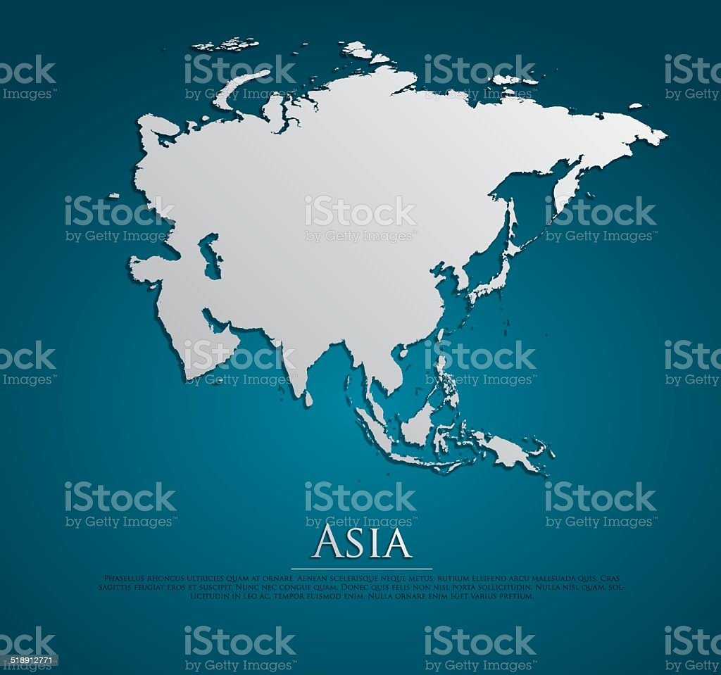 vector Asia Map card paper vector art illustration