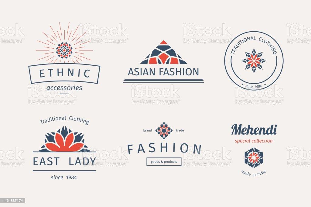Vector asian logo templates vector art illustration
