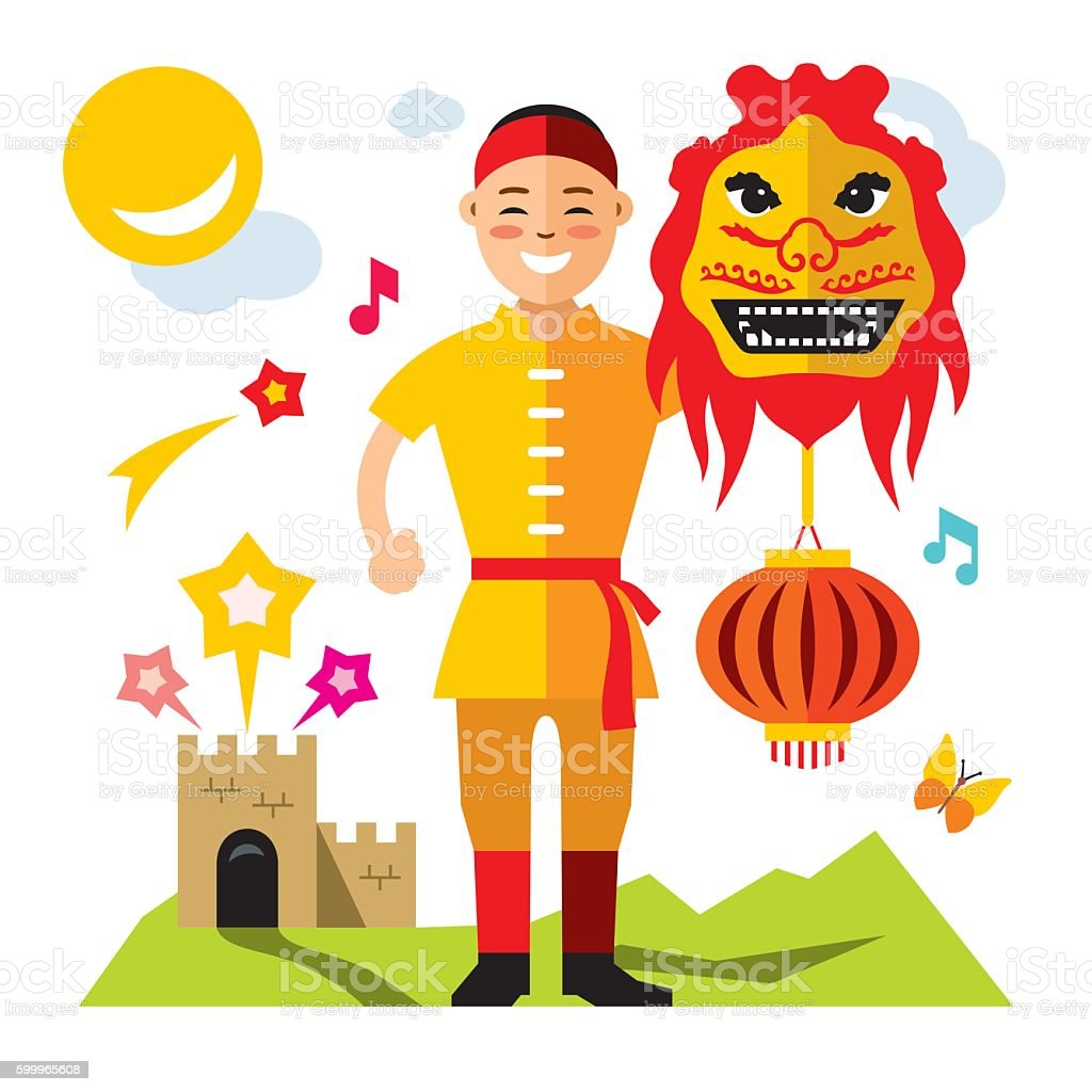 Vector Asian man with Chinese dragon. Flat style colorful Cartoon vector art illustration