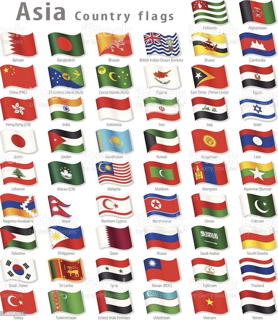 Vector Asian National Flag Set vector art illustration