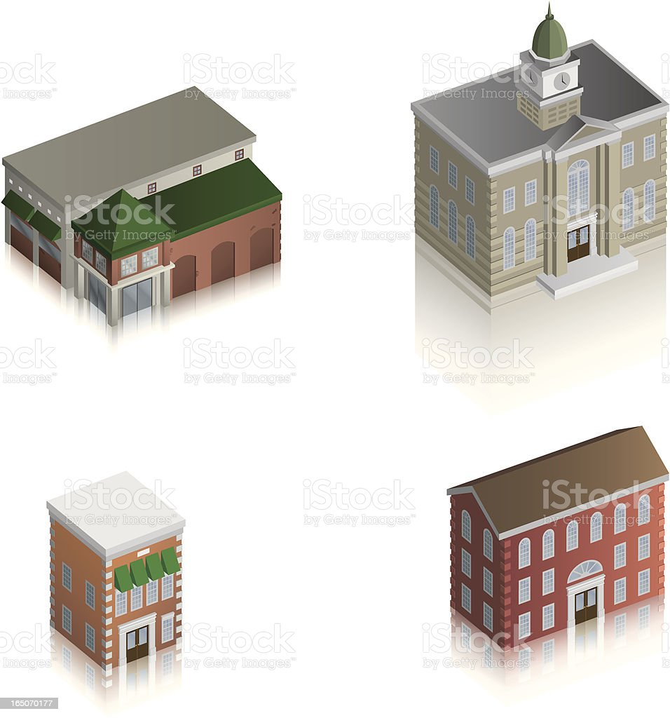 Vector Assorted Downtown Buildings royalty-free stock vector art