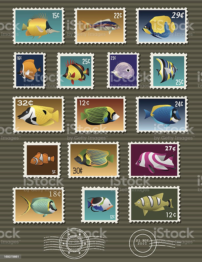 Vector Assorted Fish Stamps royalty-free stock vector art
