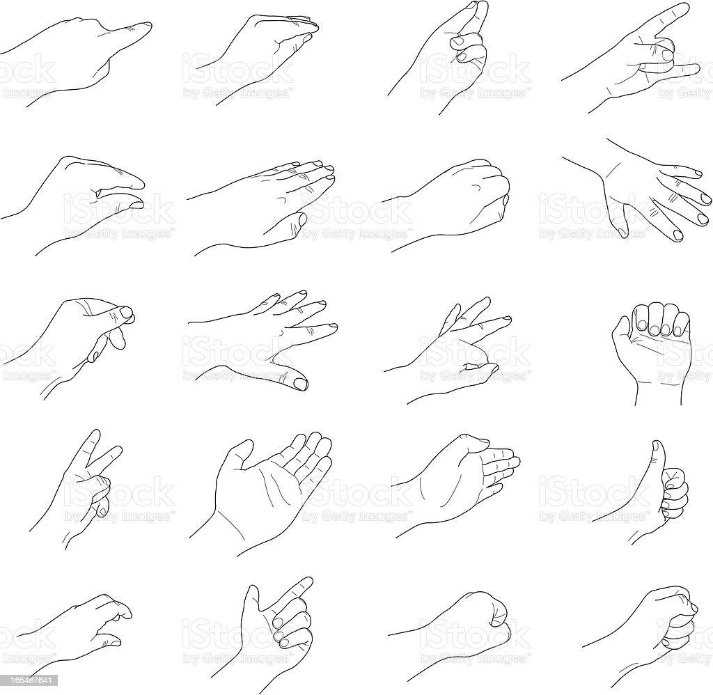 Vector Assorted Hand Gestures royalty-free stock vector art
